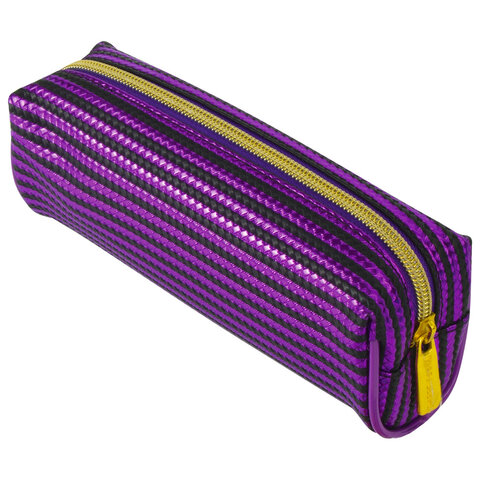 "Пенал-косметичка BRAUBERG, мягкий, ""Royal"", фиолетовый, 19х6х6 см, 229022"