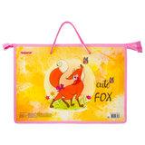"""Папка на молнии с ручками ПИФАГОР А4, 1 отделение, пластик, молния сверху, """"FOX"""", 229114"""