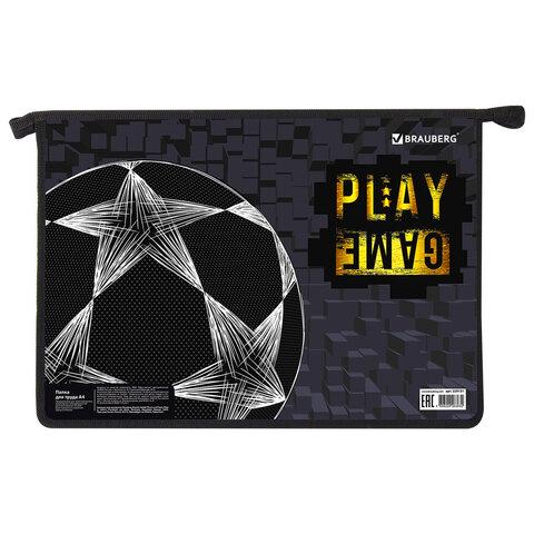 """Папка для труда BRAUBERG А4, 2 отделения, пластик, молния сверху, органайзер, """"Play Game"""", 229131"""