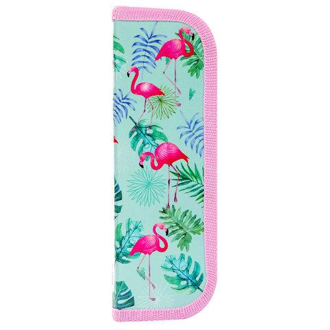 """Пенал ЮНЛАНДИЯ, 1 отделение, ламинированный картон, 19х7 см, """"Flamingo"""", 229144"""