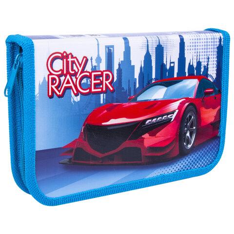 """Пенал ПИФАГОР, 1 отделение, ламинированный картон, 19х11 см, """"CITY RACER"""", 229146"""