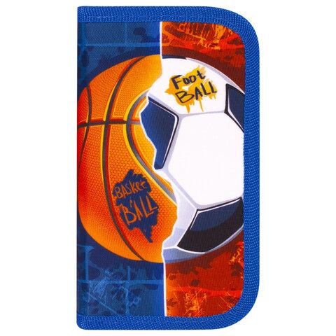 """Пенал ЮНЛАНДИЯ, 2 отделения, ткань, 19х11 см, """"Sports Ball"""", 229158"""