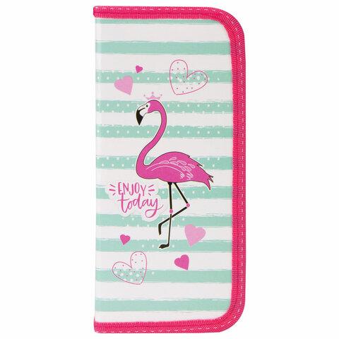 """Пенал ПИФАГОР, 1 отделение, ламинированный картон, 19х9 см, """"Flamingo"""", 229196"""