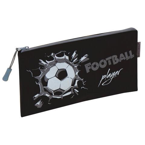 "Пенал-конверт BRAUBERG, мягкий, водонепроницаемая молния, формат А6, ""Football"", 22х12 см, 229257"