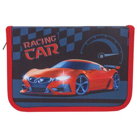 """Пенал BRAUBERG, 1 отделение, 1 откидная планка, ткань, 20х14 см, """"Racing Car"""", 229280"""