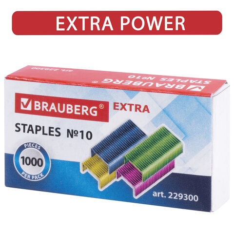 Скобы для степлера цветные №10, 1000 штук, BRAUBERG