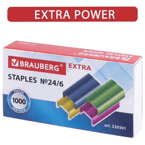 Скобы для степлера цветные №24/6, 1000 штук, BRAUBERG