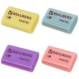 """Ластик BRAUBERG """"Pastel"""", 37х24х11мм, ассорти пастельных цветов, экологичный ПВХ, 229582"""