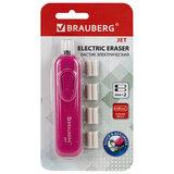 """Ластик электрический BRAUBERG """"JET"""", питание от 2 батареек ААА, 8 сменных ластиков, розовый, 229617"""