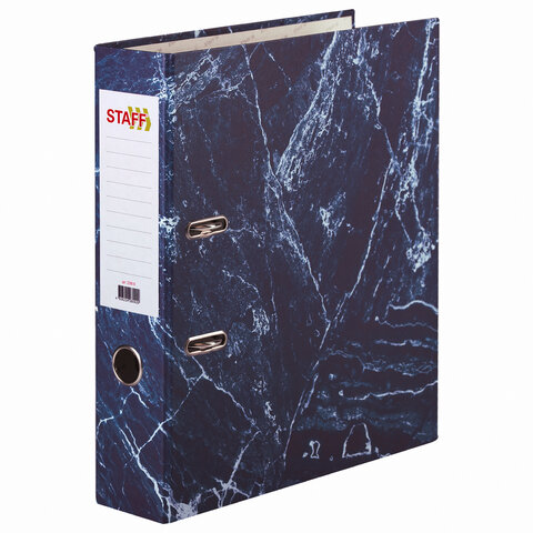 Папка-регистратор STAFF БЮДЖЕТ с мраморным покрытием, 70 мм, без уголка, синяя, 229618