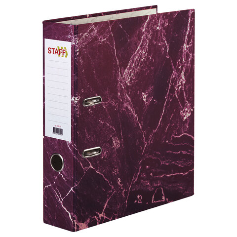 Папка-регистратор STAFF БЮДЖЕТ с мраморным покрытием, 70 мм, без уголка, красная, 229619