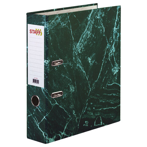 Папка-регистратор STAFF БЮДЖЕТ с мраморным покрытием, 70 мм, без уголка, зеленая, 229620