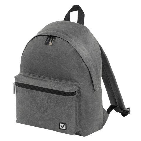 Рюкзак BRAUBERG MIRACLE крафтовый с водонепроницаемым покрытием, графитовый, 34х26х11 см, 229892
