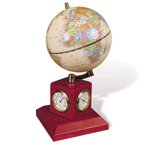 Глобус на подставке с часами, термометром и гигрометром GALANT, цвет - красное дерево, диам. 90 мм, 231180