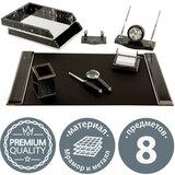 Набор настольный GALANT из мрамора, 8 предметов, черный мрамор/серебристые металлические детали, 231192