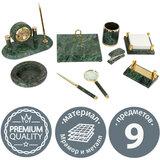 Набор настольный GALANT из мрамора, 9 предметов, зеленый мрамор/золотистые металлические детали, 231194