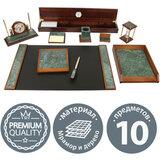 Набор настольный GALANT из мрамора, 10 предметов, зеленый мрамор/отделка красное дерево, 231196