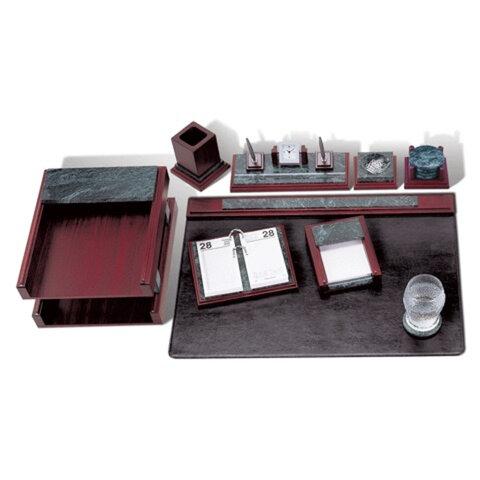 Набор GALANT настольный из мрамора, 8 предметов, зеленый мрамор, красное дерево, двойной лоток, часы, 231518