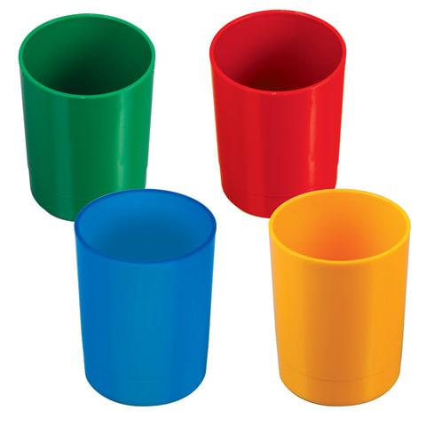 Подставка-органайзер СТАММ (стакан для ручек), 70х70х90 мм, ассорти, 4 цвета, СН01