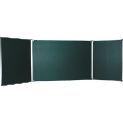 Доска для мела магнитная 3-х элементная 100х150/300 см, 5 рабочих поверхностей, зеленая, BOARDSYS, ТЭ-300М