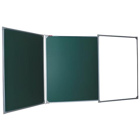 Доска для мела/магнитно-маркерная 3-х элементная 100х150/300 см, 3 поверхности/мел + 2 поверхности/маркер, BOARDSYS, ТЭ-300К