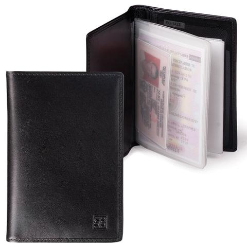 Бумажник водителя SERGIO BELOTTI, натуральная кожа, 6 пластиковых карманов, черный, Италия, 1423