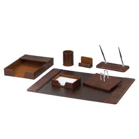 Набор GALANT настольный из экокожи, 7 предметов (под гладкую кожу, темно-коричневый), 232280