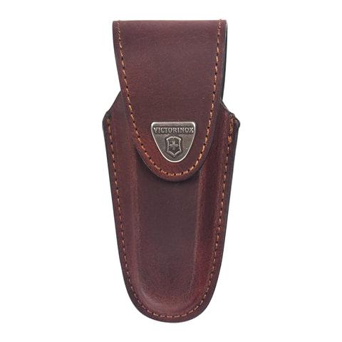Подарочный чехол для ножей VICTORINOX, кожа, коричневый, на липучке, фиксирующееся лезвие, толщина 4-6 уровней, 4.0538