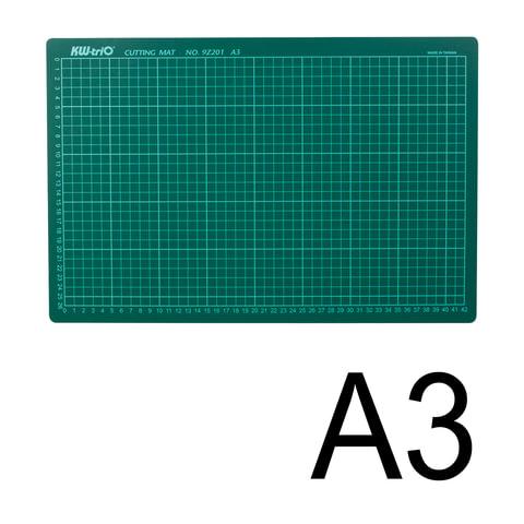 Коврик-подкладка настольный для резки А3 (450х300 мм), сантиметровая шкала, зеленый, 3 мм, KW-trio, 9Z201, -9Z201