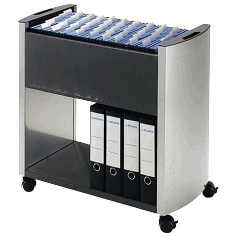 Тележка для подвесных папок DURABLE, на 80 папок А4, цвет серебристый/угольный, 235585