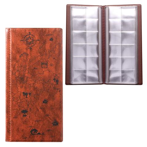 Альбом для монет или купюр, 105х223 мм, на 72 монеты D до 30 мм, выдвижные карманы, коричневый,