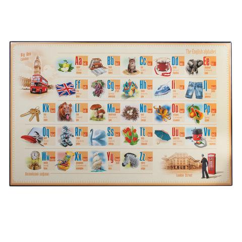 Коврик-подкладка настольный для письма (590х380 мм), с английским алфавитом, ДПС, 2129.Е