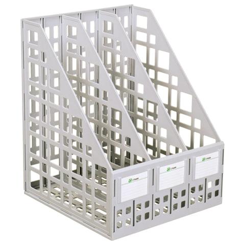Лоток вертикальный для бумаг СТАММ, ширина 240 мм, 3 отделения, сетчатый, сборный, серый, ЛТ80