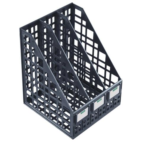 Лоток вертикальный для бумаг СТАММ, ширина 240 мм, 3 отделения, сетчатый, сборный, черный, ЛТ81