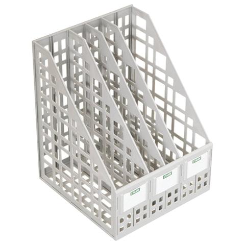 Лоток вертикальный для бумаг СТАММ, ширина 240 мм, 4 отделения, сетчатый, сборный, серый, ЛТ82