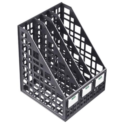 Лоток вертикальный для бумаг СТАММ, ширина 240 мм, 4 отделения, сетчатый, сборный, черный, ЛТ83