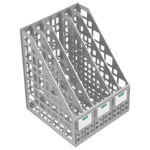 Лоток вертикальный для бумаг СТАММ, ширина 240 мм, 5 отделений, сетчатый, сборный, серый, ЛТ84