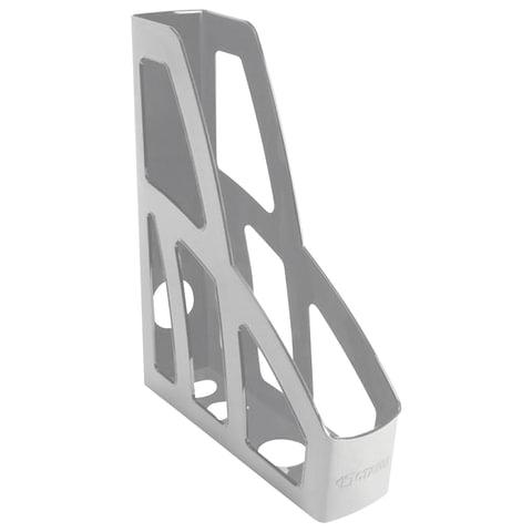 """Лоток вертикальный для бумаг СТАММ """"Лидер"""", ширина 75 мм, серый, ЛТ121"""