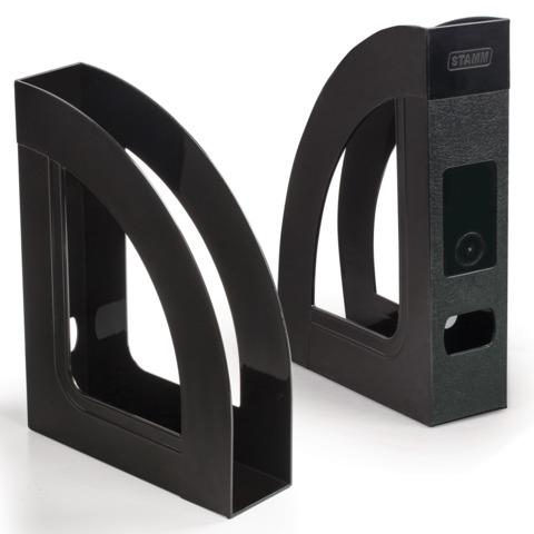 """Лоток вертикальный для бумаг СТАММ """"Респект"""", ширина 70 мм, черный, ЛТ142"""
