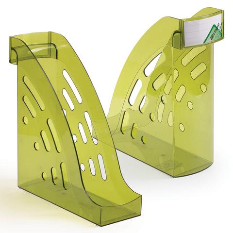"""Лоток вертикальный для бумаг СТАММ """"Торнадо"""", ширина 95 мм, тонированный зеленый лайм, ЛТ406"""