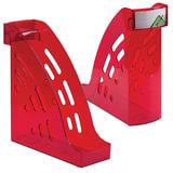"""Лоток вертикальный для бумаг СТАММ """"Торнадо"""", ширина 95 мм, тонированный темно-красный (вишня), ЛТ407"""
