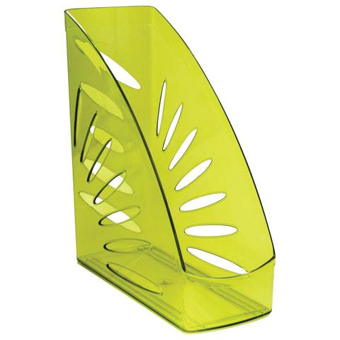 """Лоток вертикальный для бумаг СТАММ """"Тропик"""", ширина 110 мм, тонированный зеленый лайм, ЛТ357"""