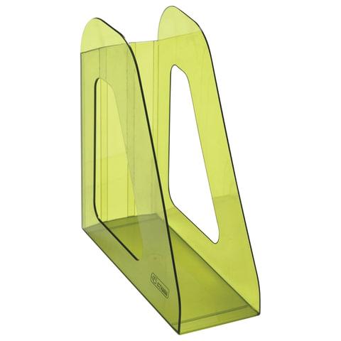 """Лоток вертикальный для бумаг СТАММ """"Фаворит"""", ширина 90 мм, тонированный зеленый лайм, ЛТ707"""