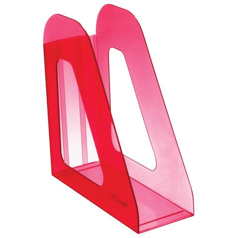 """Лоток вертикальный для бумаг СТАММ """"Фаворит"""", ширина 90 мм, тонированный темно-красный (вишня), ЛТ708"""