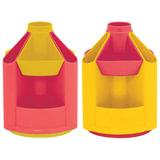 """Подставка-органайзер СТАММ """"Mini Desk"""", вращающаяся, 107х107х140 мм, 10 отделений, лимоннный/малиновый, ОР91"""