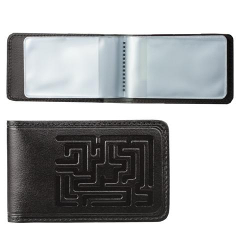 """Визитница карманная BEFLER """"Лабиринт"""" на 40 визитных карт, натуральная кожа, тиснение, черная, V.59.-7"""