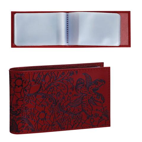 """Визитница карманная BEFLER """"Гипюр"""" на 40 визиток, натуральная кожа, тиснение, красная, V.43.-1"""