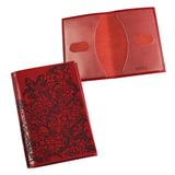 """Обложка для паспорта BEFLER """"Гипюр"""", натуральная кожа, тиснение, красная, O.32.-1"""