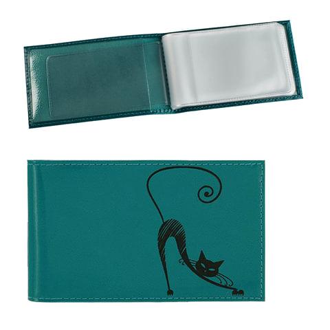 """Визитница карманная BEFLER """"Изящная кошка"""" на 40 визиток, натуральная кожа, тиснение, бирюзовая, V.37.-1"""