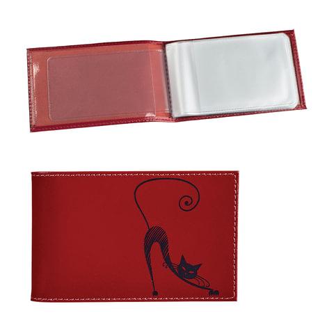 """Визитница карманная BEFLER """"Изящная кошка"""" на 40 визиток, натуральная кожа, тиснение, красная, V.37.-1"""